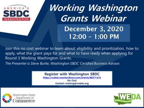 Working Washington Grants Webinar